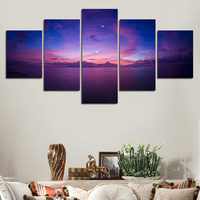 cancas Painted Modern home decor Abstract wall art picture for living room sea full moon night canvas art oil Painting on canvas