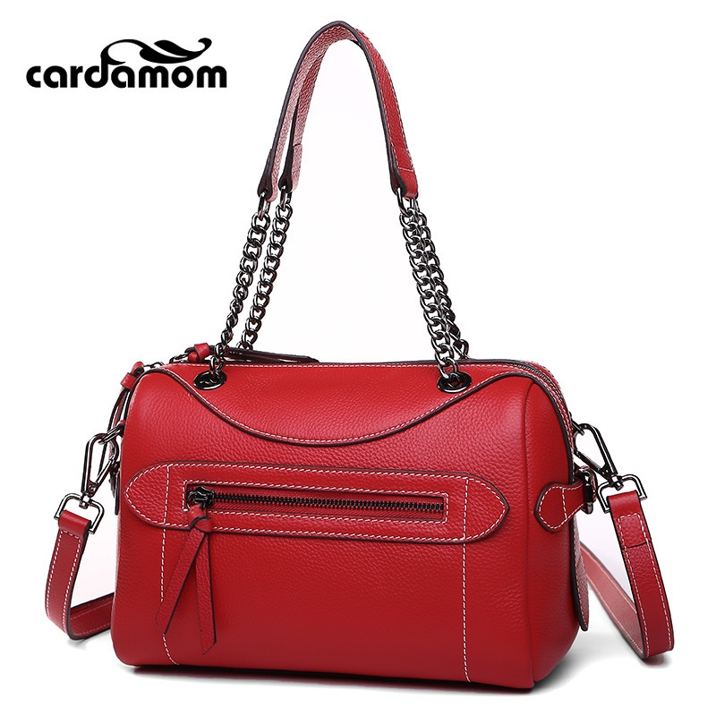 Cardamom New Boston Genuine Leather Handbags First Layer Of Embossed Leather Shoulder Bag Women Shoulder Diagonal Bag qiaobao women general genuine leather handbags tide europe fashion first layer of cowhide women bag hand diagonal cross package
