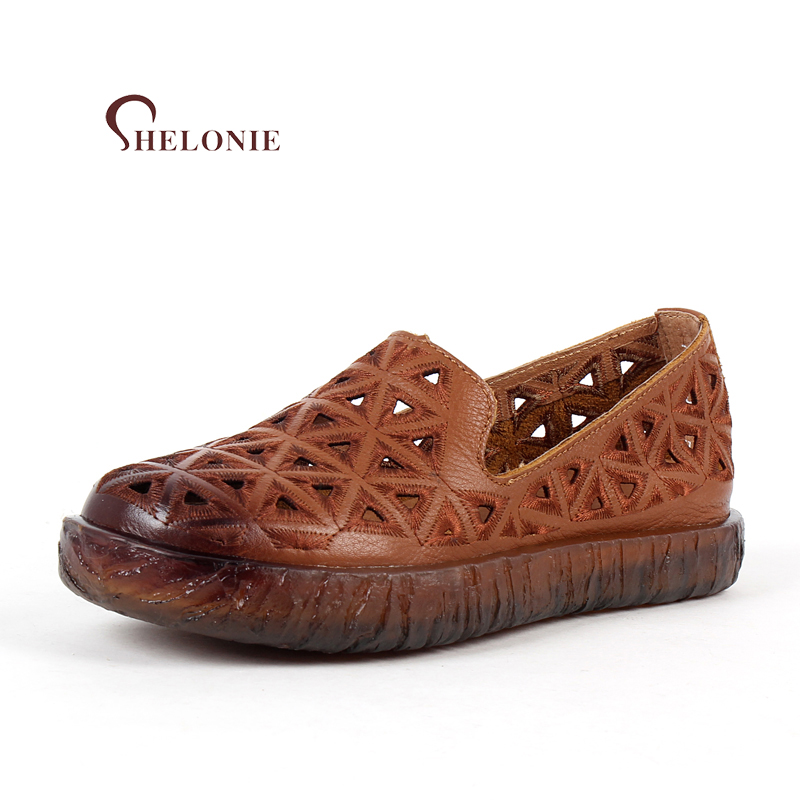 shelonie Genuine Leather Women Shoes Embroidery Hollow ethnic wind retro Handmade Casual leather Shoes Soft Casual Flats Shoes