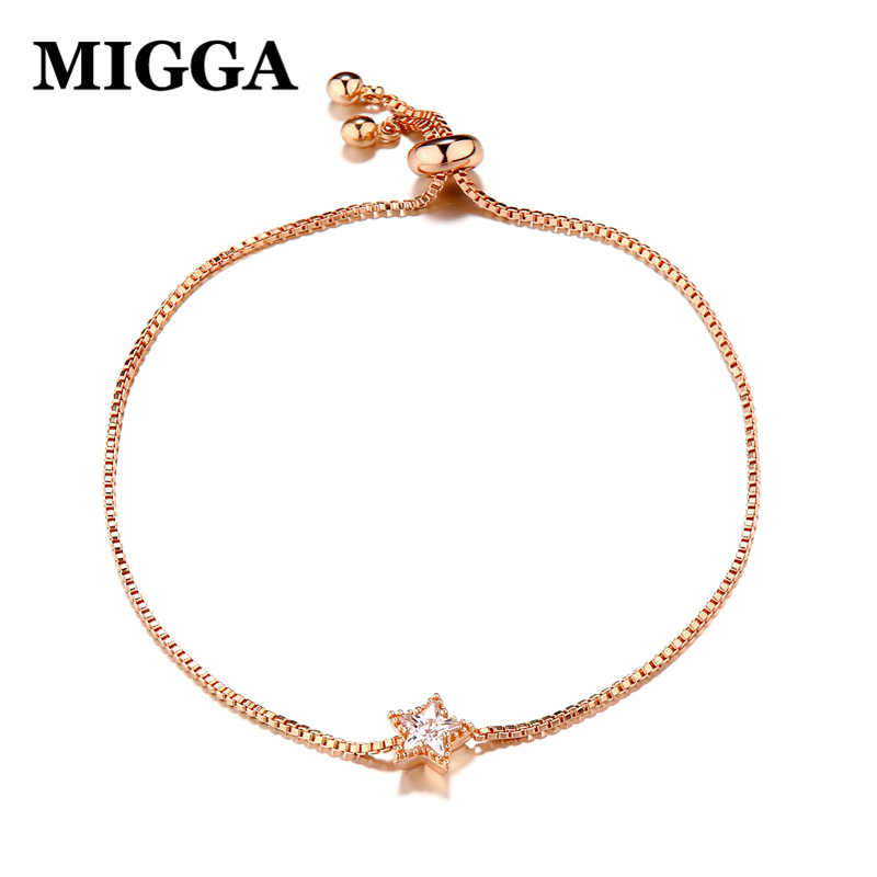MIGGA 2018 Cubic Zircon Crystal Star Charm Chain Bracelet for Women Fashion Bracelet Jewelry Gold/Silver Color