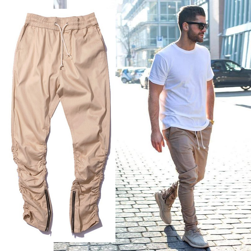 Khaki Jogger Pants Casual Skinny Zipper Bottom Sweatpants Hip Hop Trousers Streetwear Men's Pants Men Slimming Pants For Men