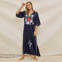 cotton dress Women Summer V Neck Dark Blue Embroidery Flower Split Half Sleeve Dresses holiday sea beach dress long maxi vestido