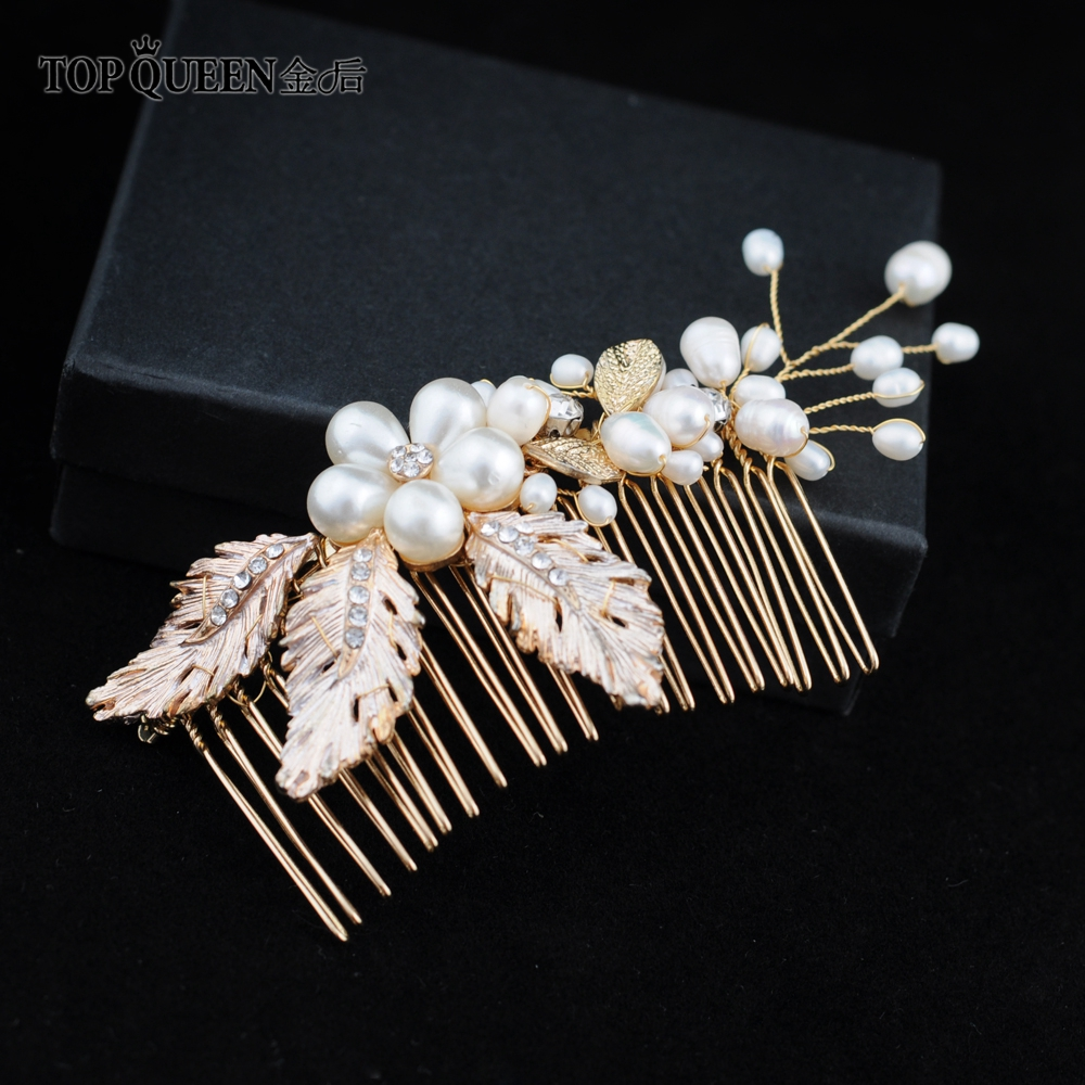 TOPQUEEN Wedding Comb Charm Fashion Pearl Bridal Hair Comb Alloy Leaf Hair Comb Hair Jewelry Accessory For Women HP17