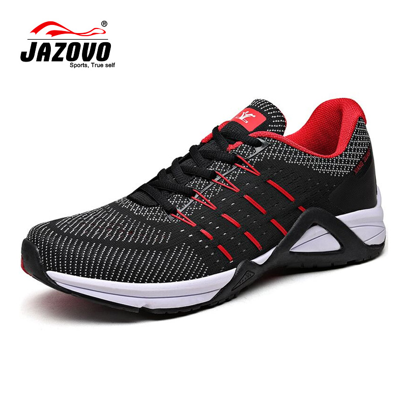 JAZOVO Running Shoes Mesh Breathable Outdoor Sports Black white red Jogging Textile Sneakers For men women Walking Shoes 36-45