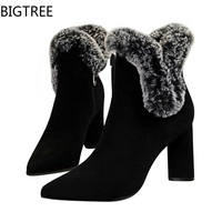 BIGTREE Sexy Women Boots Winter High Heels Ankle Boots Shoes Women Fall Ladies Short Boots Snow