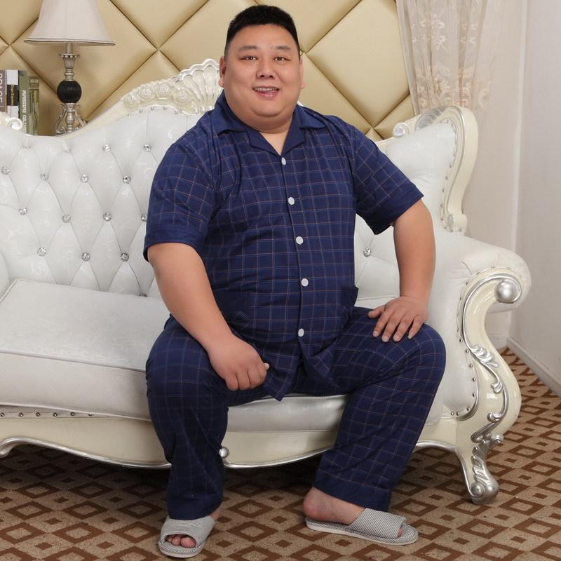 140KG 5XL home men cotton set pajamas summer short sleeve 100% cotton pajama sexy pijamas homens men pyjama plus size XXXXL