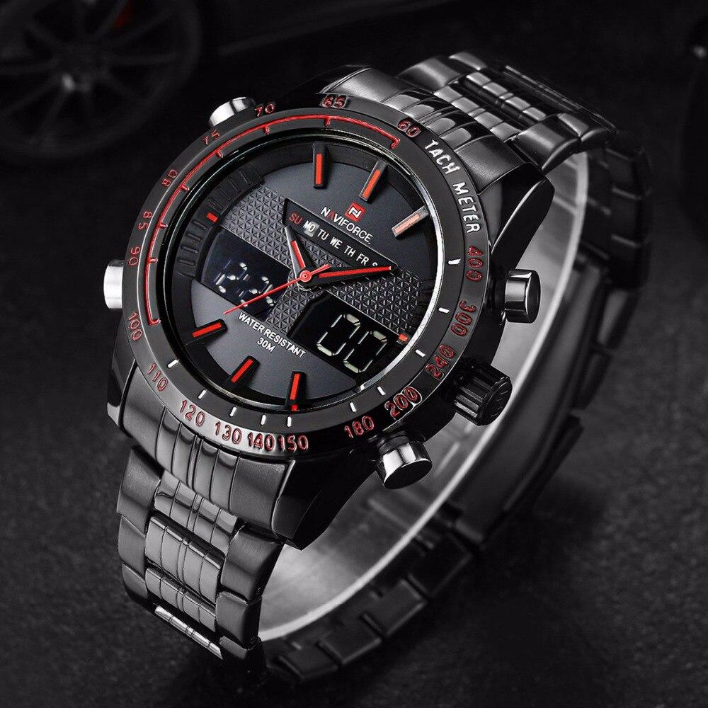 NAVIFORCE Watch Men Luxury Brand Stainless Steel Analog Digital Led sports men watch waterproof quartz watch
