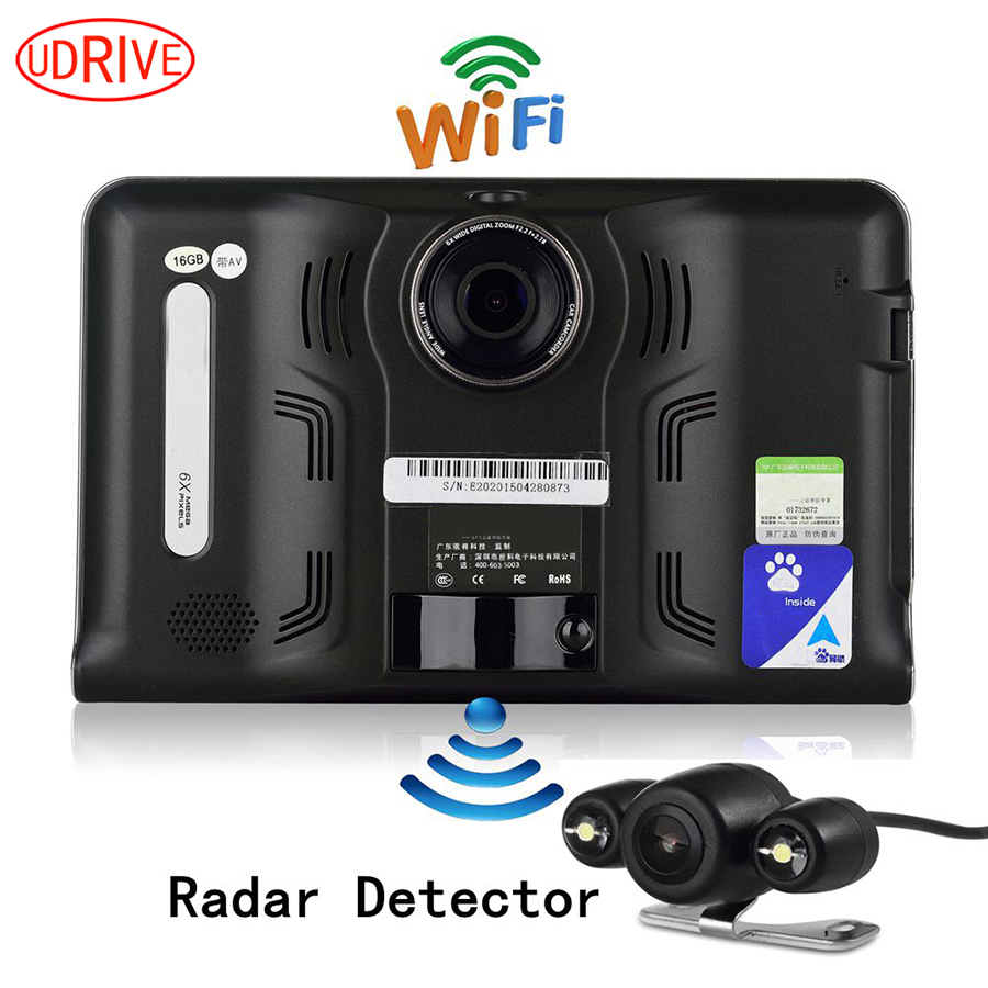 Udrive 7 inch GPS Navigation Android GPS DVR Camcorder 16GB Allwinner A33 Quad Core 4 CPUs Radar Detector Rear View Camera GPS