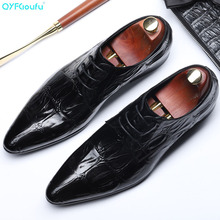 QYFCIOUFU New Arrival Crocodile Pattern Genuine Leather Oxford Shoes For Men Pointed Toe Lace-up Formal Shoes Fashion Dress Shoe