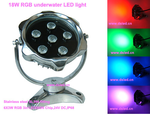 IP68,DMX compitable,high power 18W outdoor RGB LED spotlight, LED projector light,24V DC, DS-10-9-18W-RGB,6X3W RGB 3in1 runail лампа led 18w