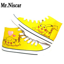 LEO Pokemon Graffiti Hand Painted Canvas Shoes Footwear High Top Anime Cartoon Character Pikachu Breathable Flat Shoes Shoe