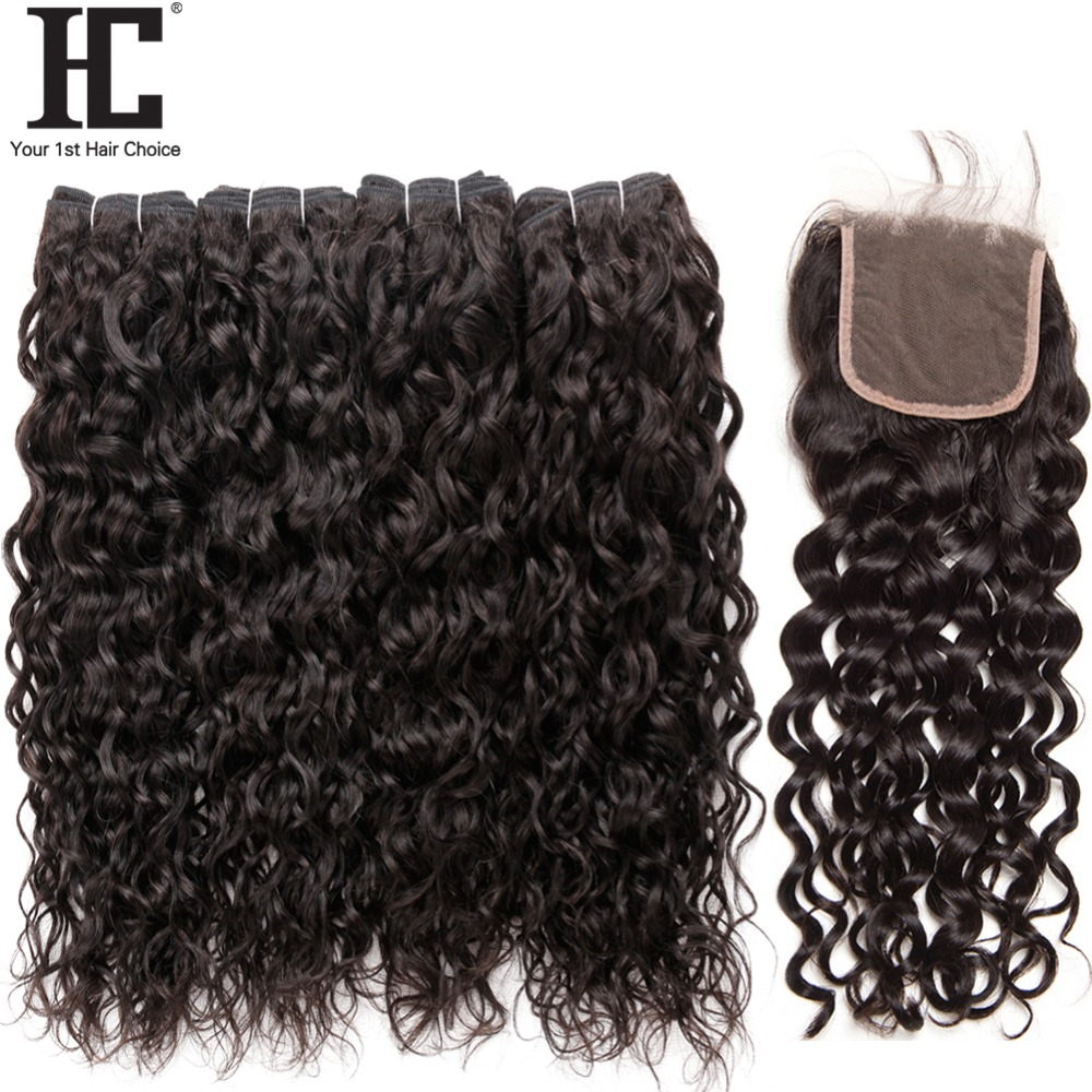 HC Water Wave Bundles With Closure 4 Bundles Human Hair Weave With Lace Closure Non Remy Brazilian Hair Bundles With Closure