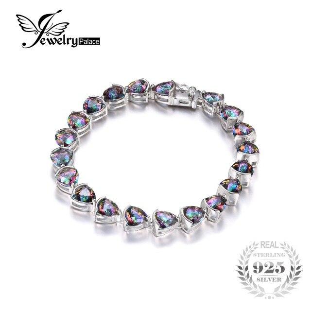 Jewelrypalace 25ct genuino rainbow fuego mystic topas tenis pulsera para mujeres enlace billones de ley 925 de plata regalo de las mujeres