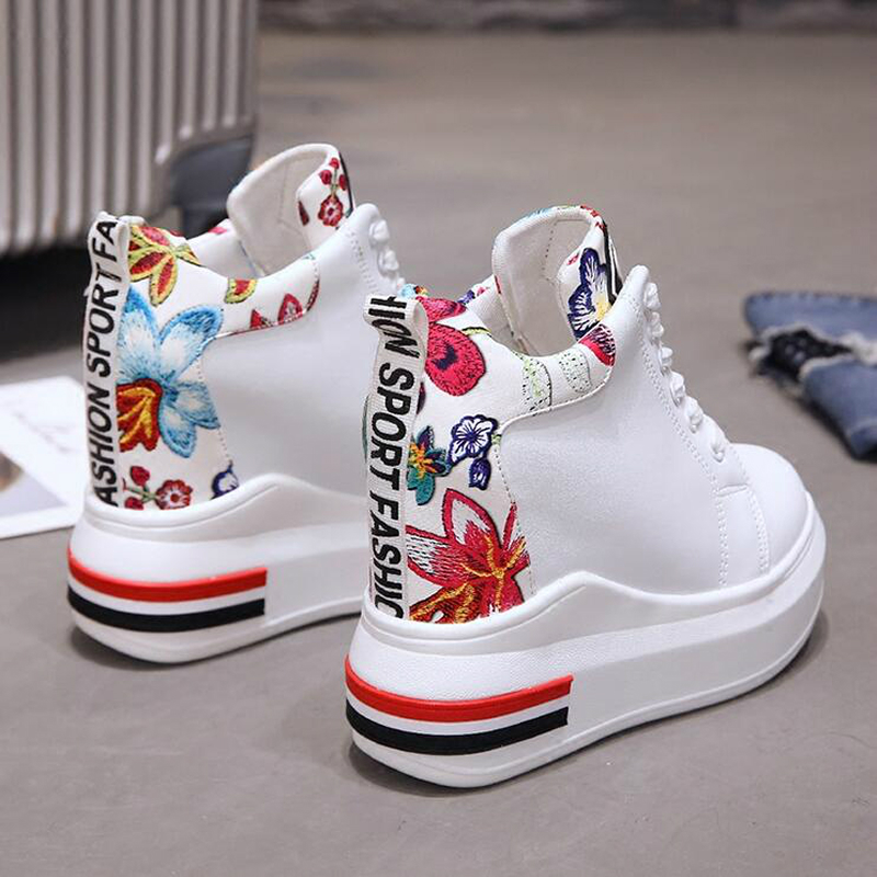 WGZNYN Summer Women High Platform Shoes Height Increasing Ladies Sneakers Spring Trainers Pu Leather Shoes woman Casual Shoe W55 4