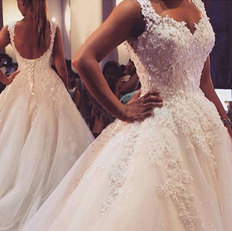 Ball Gowns Spaghetti Straps White Ivory Tulle Wedding Dresses 2018 With Pearls Bridesmaid Dresses Marriage Customer Made Size