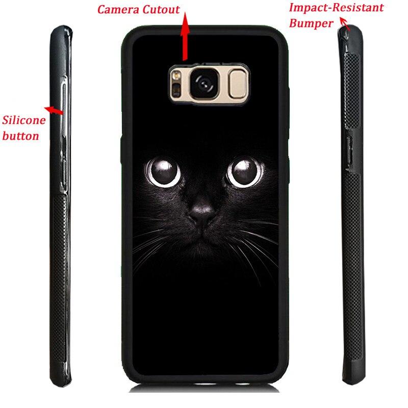 Black Cat Emoji Print Soft TPU Hard PC Back Case Cover For Samsung