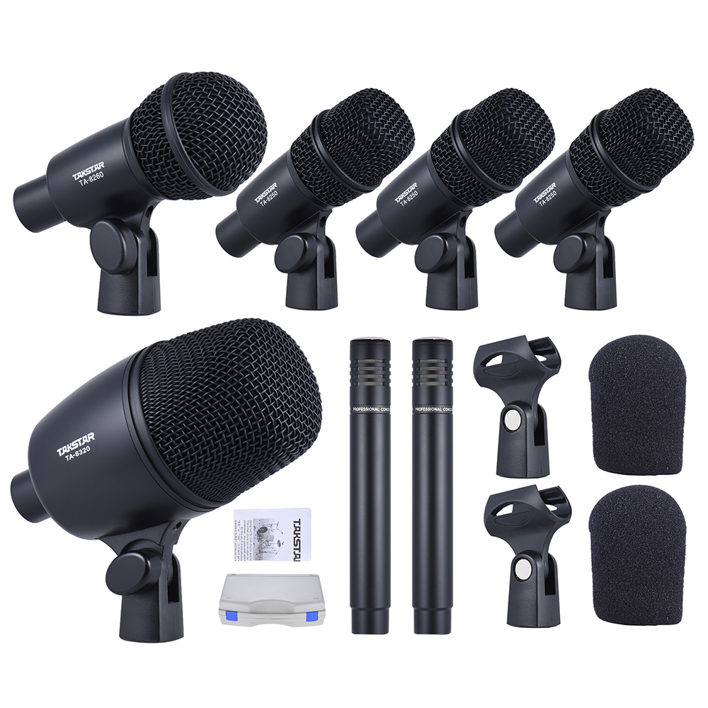 dms 7as professional wired microphone mic kit for drum set musical instruments w standard. Black Bedroom Furniture Sets. Home Design Ideas