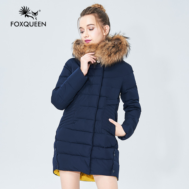 Foxqueen 2016 New Winter Women s Fashion Brand Thick Outwear Coat Solid Color Fur Collar Hooded