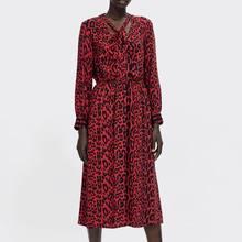 96a34d3035 Spring 2019 New Red Leopard Print Dress V-Neck Full Leopard A-Line Dress