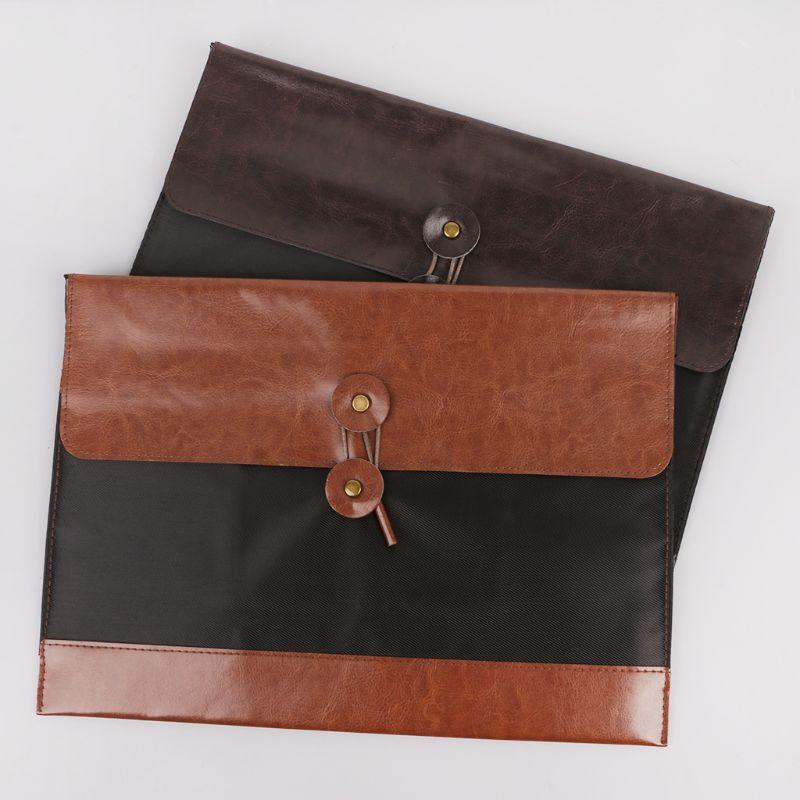 Retro Men Women Leather File Folder Document Organizer Storage Bag Envelope Meeting Travel Conference Holder