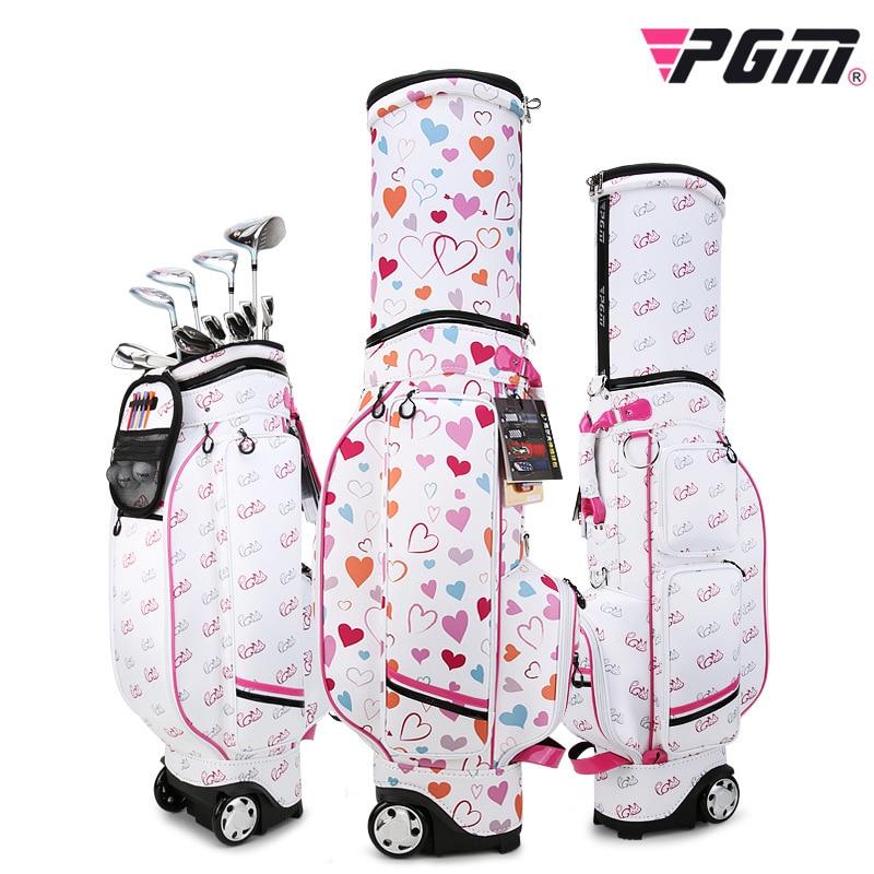PGM QB053 Women's Professional Pink Golf Standard Ball Bag Multifunctional Telescopic Golf Bag Free Waterproof Raincover
