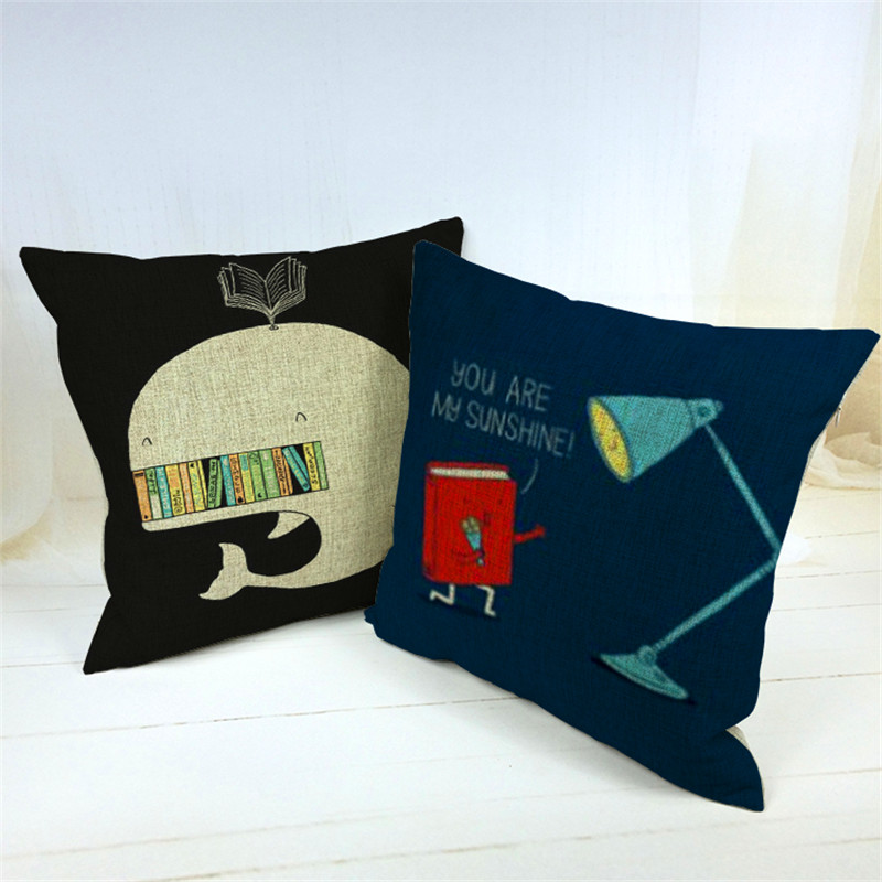 Retro Vintage shark Book Home Decorative Cotton Linen Reading cover book Pillow Case Cushion Cover 18'' 45CM