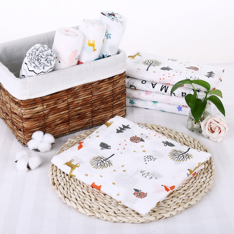 120x120cm Baby Gauze Blanket 2018 New Cotton Wrapped Bath Towel Infant Soft Air Conditioning Towel High Quality