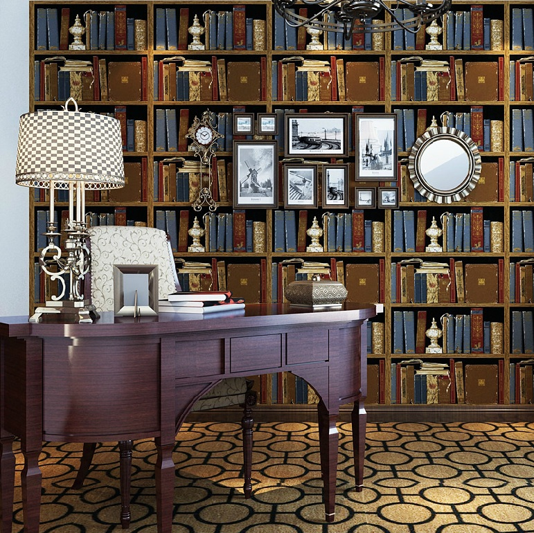 цены HaokHome Vintage Retro Vinyl Bookshelf Design embossed Wallpaper,for living room bar hotel home decoration,3D wall paper