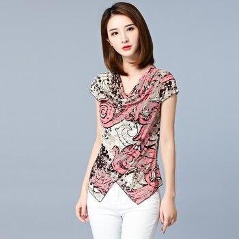Print Floral Blouse Femme Ete 2018 Shirt Women Summer Tops New V-Neck Casual Asymmetry Womens Blouses Short Sleeve Ladies Shirts
