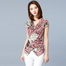 Print Floral Blouse Femme Ete 2018 Shirt Women Summer Tops New V-Neck Casual Asy