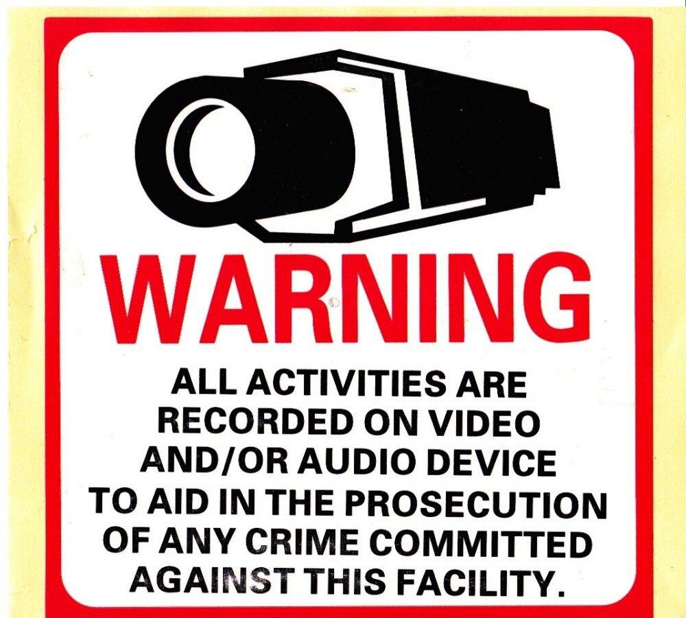30 шт./лот наклейка Стикеры Предупреждение видеонаблюдения все виды деятельности контролируется видео Камера 8 x 8 CCTV дома камера стикеры зн...