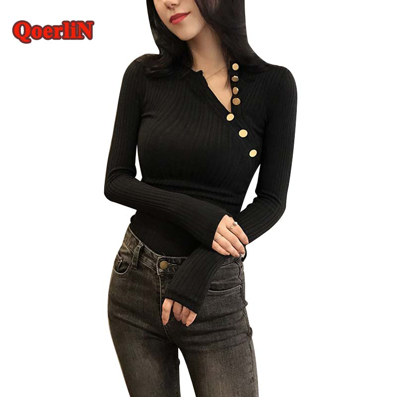 QoerliN Button Black Basic Tops Womens Knitted Long Sleeve Slim Sweater Female 2017 Autumn Winter Sexy Sueter Mujer Solid Cloth