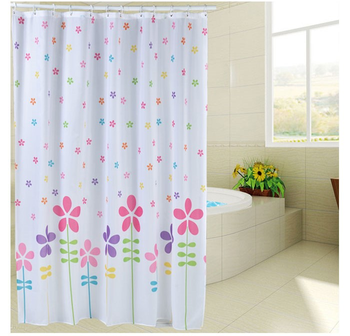 Thick Warm Flower Shower Curtain Mildew Waterproof Polyester Fabric Grommet  +Lead Wire Technology+C Hook Toilet Partition In Shower Curtains From Home  ...