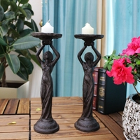 2 Vintage Pillar Stick Holder Cast Iron Brown Angel Wings Metal Church Candle Holders Stand Ornate Home Decoration Table Antique