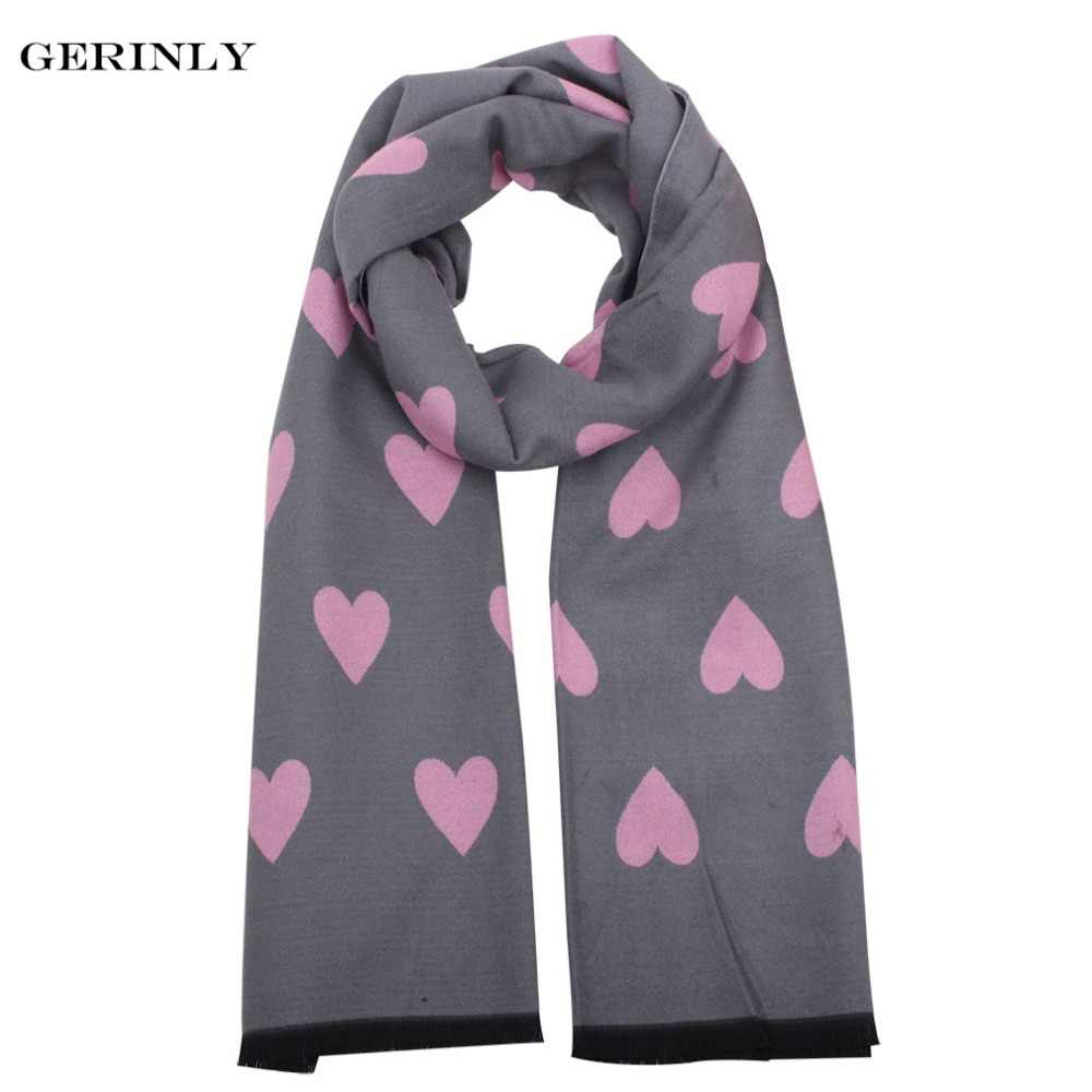 4ca32237346 Women Cute Heart Cashmere Scarves with Fringe Ladies Warm Blanket ...