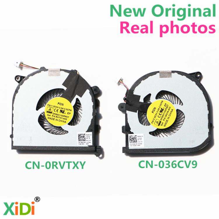 NEW CN-0RVTXY CN-036CV9 Xidi CPU and VGA FAN FOR DELL XPS15 9550 CPU FAN GPU COOLING FAN free shipping a15 36 sky blue color fashion top crystal stones ring clutches bags for ladies nice party bag