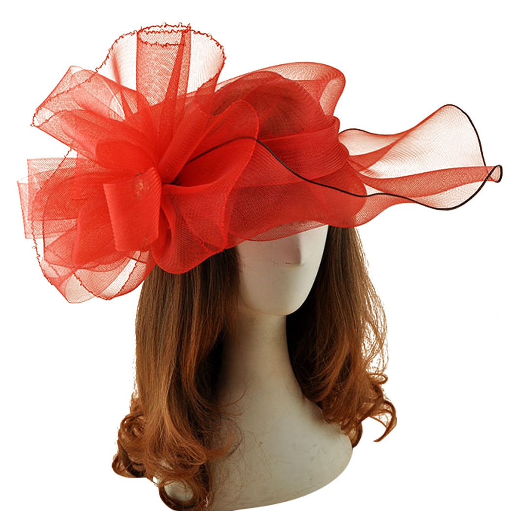 Big Red Vogue Hat Gauze Flower Fascinator Hair Clip Women Kentucky Derby Mesh Headwear Wedding Bride Headpieces Hair Accessories домкрат винтовой ромбовидный big red t10152