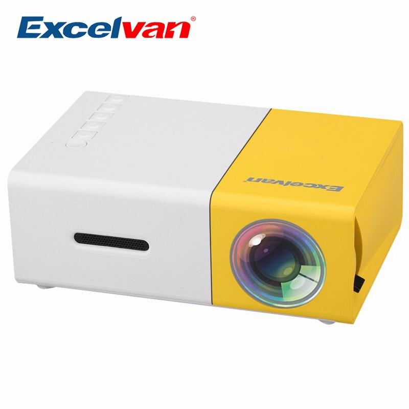 Excelvan YG300 Mini projecteur LCD Portable 320x240 Pixels prise en charge 1080P avec carte AV/USB/SD/Interface HDMI haut-parleur intégré