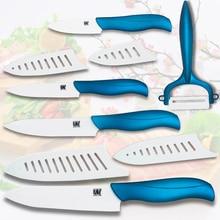 """Neue keramische messer 3 """"schäl 4"""" utility 5 """"schneiden 6"""" kochmesser küchenmesser mit einem weiß + blau schäler koch werkzeuge messer set"""