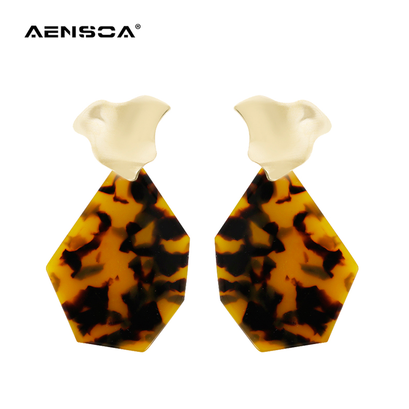AENSOA Unique Irregular Acrylic Earrings For Women Vintage Geometric Leopard Statement Earrings Fashion Jewelry Gift Wholesale
