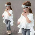 2016 spring&summer new baby girls t shirt trumpet sleeves long style top for toddler girls white infant girl clothes suit 2-7T