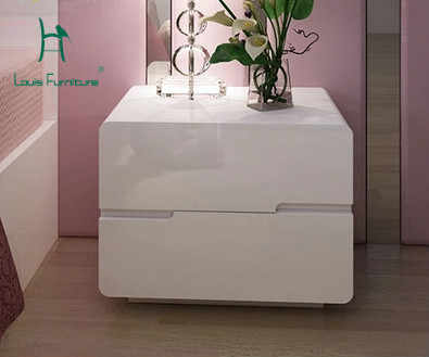 Louis Fashion wooden Simple Modern White Paint Cabinets Bedroom Bedside Bedside Lockers