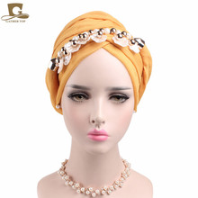 2017 NEW pearl shell Pendant head Scarf headscarf turban soft cotton voile long headwrap Necklace Scarves women hijab