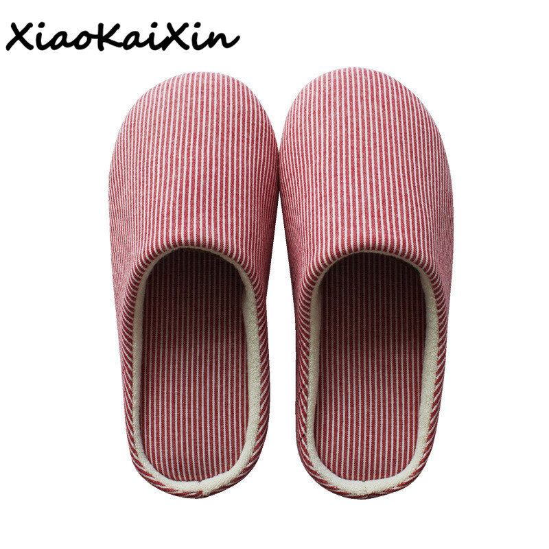 XiaoKaiXin Japanese Home Couple Cotton Slippers Men and Women Indoor Mute non-slip Wooden Floor House Shoes Guests slipper Flats home slippers soft plush cotton cute slippers shoes non slip floor indoor house home fur slippers women shoes for bedroom