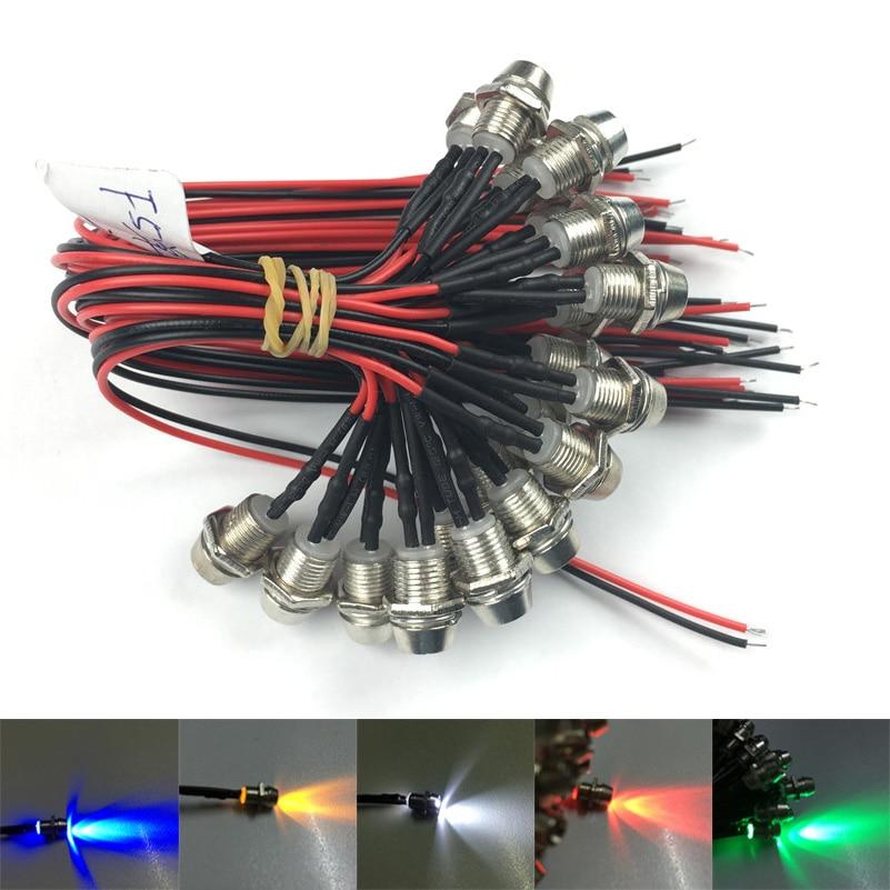 5x White Pre Wired 3mm LED Bezel Holder Light Lamp 12V