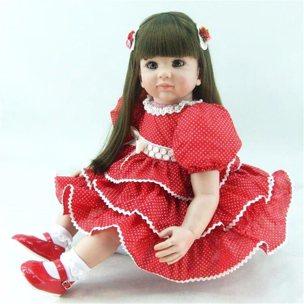 22 inch 55 cm Silicone baby reborn dolls,Red dot Princess Dress cute girl holiday gift doll disney princess brass key 2003 holiday collection porcelain doll snow white