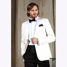 Classic terno slim fit Shawl Lapel Ivory Groom Tuxedo Groomsmen wedding suits for men 2017 Business Mens Suit (Jacket+Pants)