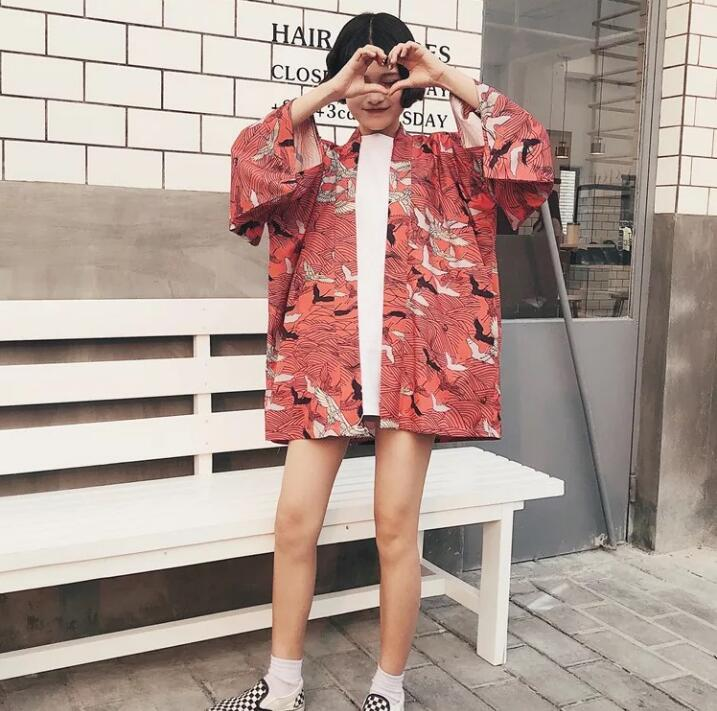 Woman Coat Japanese Kimono Summer Cardigan Kimono Yukata Woman Thin Loose Retro Outer Garment