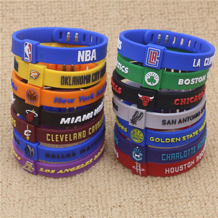 Simple Star Team Sports Tide Wristband Basketball Star Color Silicone Sports Bracelet