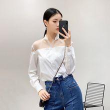 84cb81416a Organza blanco camisa blusa de las mujeres de moda OL ropa de manga larga  tops estudiante vacaciones camisas
